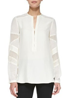 Trail Me Patchwork Silk Blouse, Ivory   Trail Me Patchwork Silk Blouse, Ivory