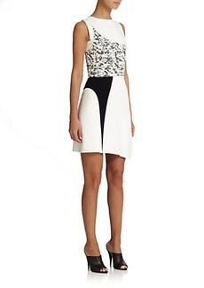 Narciso Rodriguez Asymmetrical Contrast Dress