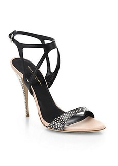 Narciso Rodriguez Carolyn Snake-Embossed-Leather Sandals