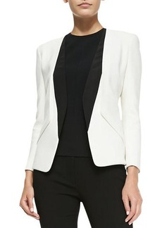Narciso Rodriguez Collarless Blazer with Silk Inserts  Collarless Blazer with Silk Inserts