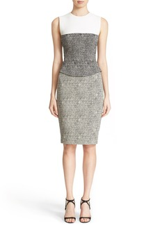 Narciso Rodriguez Crosshatched Jacquard Peplum Dress