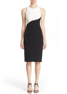 Narciso Rodriguez Diagonal Panel Stretch Silk Sheath Dress