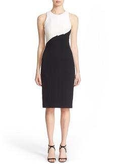 Narciso Rodriguez Diagonal Panel Stretch Silk Sheath Dress