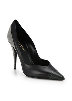 Narciso Rodriguez Leather & Snakeskin Point-Toe Pumps