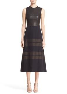 Narciso Rodriguez Leather Bodice Linen Stripe A-Line Dress