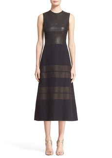 Narciso Rodriguez Leather Bodice Linen Stripe A-Line Dress