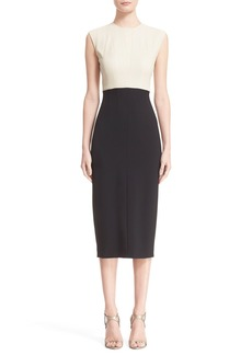 Narciso Rodriguez Leather Bodice Scuba Sheath Dress
