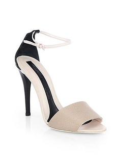 Narciso Rodriguez Lizard-Embossed Leather Ankle-Strap Sandals