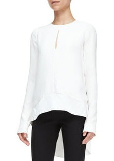 Narciso Rodriguez Long-Sleeve High-Low Blouse
