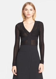 Narciso Rodriguez Long Sleeve Silk Blend Bodysuit