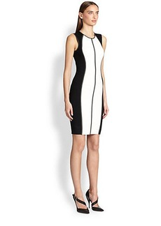 Narciso Rodriguez Merino Wool & Silk Colorblock Knit Dress