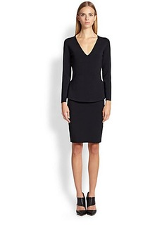 Narciso Rodriguez Milano V-Neck Peplum Dress