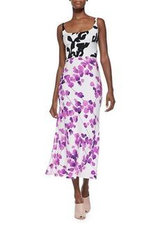 Narciso Rodriguez Mixed Floral-Print Charmeuse Dress