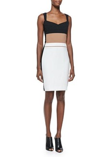 Narciso Rodriguez Multi-Banded Scuba Sheath Dress