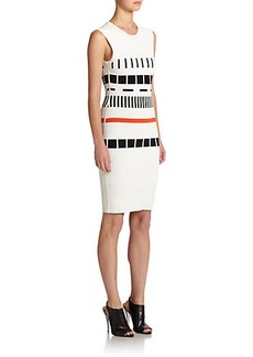 Narciso Rodriguez Reversible Block-Pattern Knit Sheath