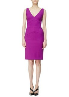 Narciso Rodriguez Seamed V-Neck Sheath Dress