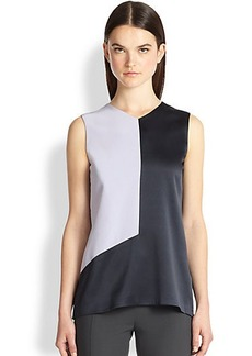 Narciso Rodriguez Silk Charmeuse Colorblock Blouse