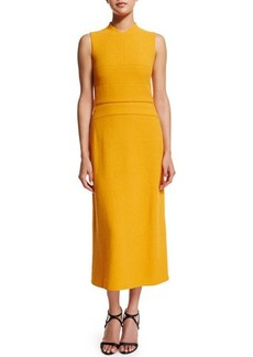 Narciso Rodriguez Sleeveless Banded-Bodice Midi Dress