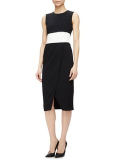 Narciso Rodriguez Sleeveless Colorblock Faux-Wrap Dress  Sleeveless Colorblock Faux-Wrap Dress