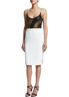 Narciso Rodriguez Sleeveless Embellished Combo Dress