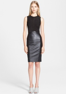 Narciso Rodriguez Stretch Leather & Suede Sheath Dress