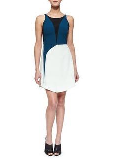 Narciso Rodriguez Tricolor Harness-Back Dress, Green Multi