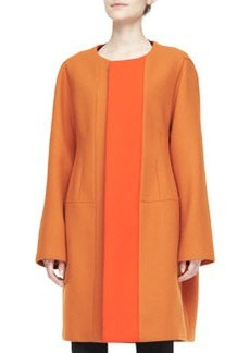 Narciso Rodriguez Two-Tone Collarless Coat, Orange