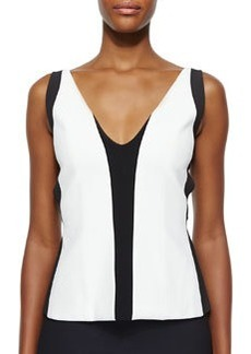 Two-Tone Harness-Back Top, White/Black Lava   Two-Tone Harness-Back Top, White/Black Lava