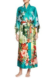 Birds of Paradise Long Satin Robe, Freshwater   Birds of Paradise Long Satin Robe, Freshwater