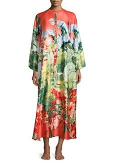 Birds of Paradise Zip-Front Caftan, Coral Print   Birds of Paradise Zip-Front Caftan, Coral Print