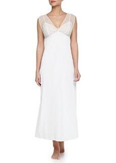 Boudoir Lace-Trim Long Chiffon Gown, Ivory   Boudoir Lace-Trim Long Chiffon Gown, Ivory
