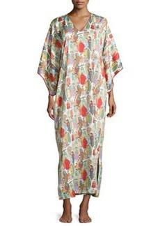 Dynasty Pearl-Print Long Caftan, Multicolor   Dynasty Pearl-Print Long Caftan, Multicolor