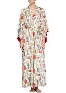 Dynasty Pearl-Print Long Robe, Multicolor   Dynasty Pearl-Print Long Robe, Multicolor