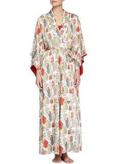 Dynasty Pearl-Print Long Robe, Multicolor   Dynasty Pearl-Print Long Robe, Multicolor