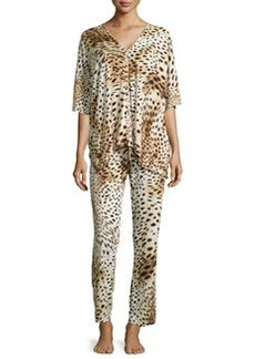 Gabon Two-Piece Tunic Pajama Set, Leopard   Gabon Two-Piece Tunic Pajama Set, Leopard