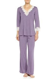 Lhasa Lace-Trimmed Pajama Set, Lavender   Lhasa Lace-Trimmed Pajama Set, Lavender