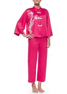 Mandarin Embroidered Silky Charmeuse Pajama Set, Pink   Mandarin Embroidered Silky Charmeuse Pajama Set, Pink