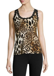 Natori Animal-Print Lace-Trim Tank