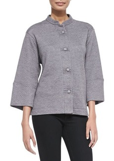 Natori Beijing Quilted Button-Front Jacket, Heather Gray