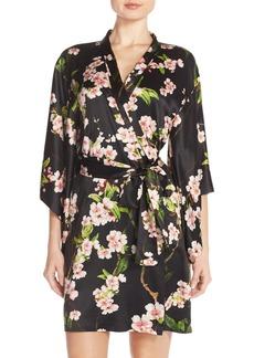 Natori 'Blossom' Print Charmeuse Robe