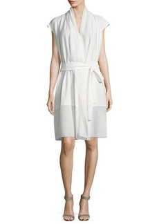Natori Cap-Sleeve Wrap Dress