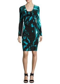 Natori Capiz Long-Sleeve Abstract-Print Dress