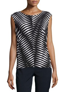 Natori Chevron Sleeveless Top, Black/Multi