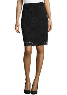 Natori Dahlia Lace Pencil Skirt, Black