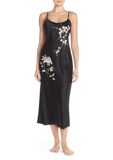 Natori 'Dawn' Embroidered Charmeuse Nightgown