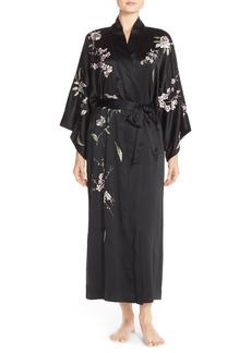 Natori 'Dawn' Embroidered Charmeuse Robe