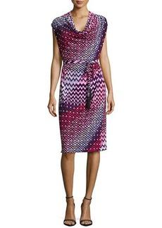 Natori Deco Cowl-Neck Dress, Perfect Pink