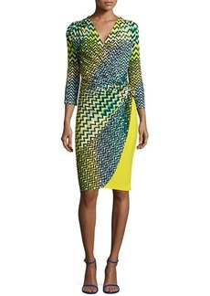 Natori Deco Wave-Dot Printed Dress, Key Lime