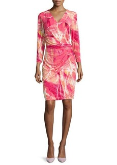 Natori Draped Printed Jersey Dress, Pink