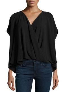 Natori Draped Wrap Blouse, Black